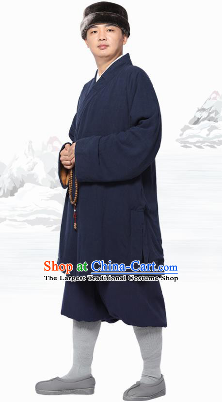 Traditional Chinese Monk Costume Meditation Navy Flax Outfits Shirt and Pants for Men