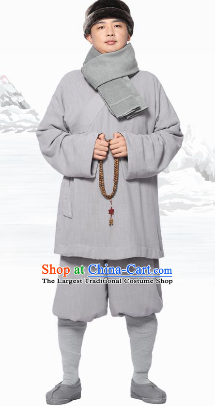 Traditional Chinese Monk Costume Meditation Grey Flax Outfits Shirt and Pants for Men