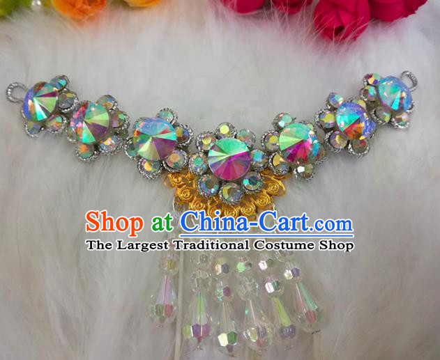 Chinese Traditional Beijing Opera Hair Accessories Peking Opera Diva Crystal Frontlet Hairpins for Adults