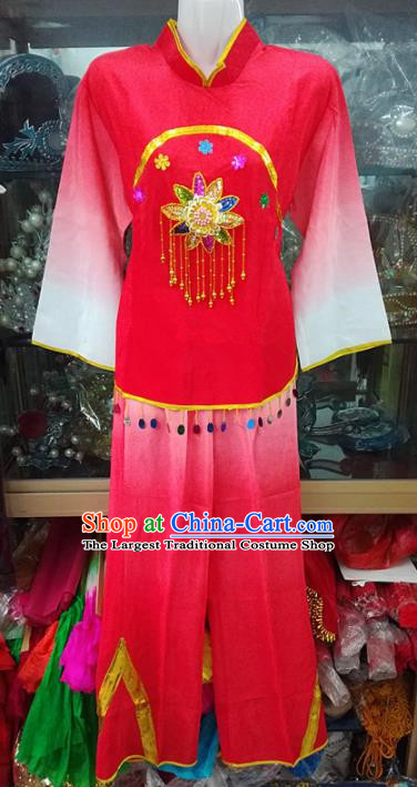 Chinese Traditional Beijing Opera Costume Peking Opera Folk Dance Yangko Red Clothing for Adults