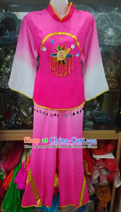 Chinese Traditional Beijing Opera Costume Peking Opera Folk Dance Yangko Rosy Clothing for Adults
