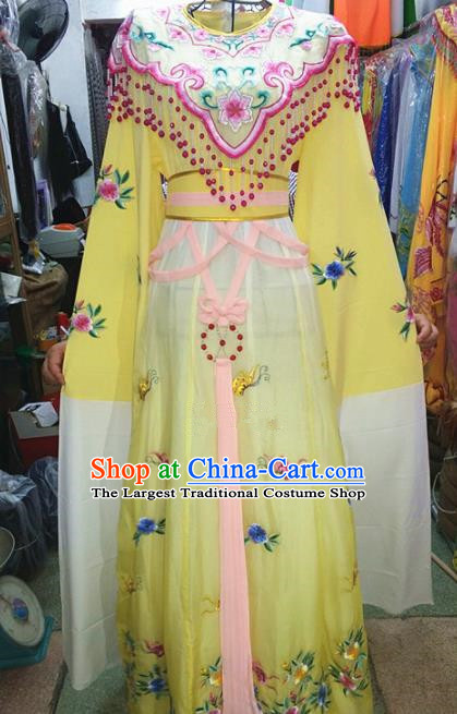 Chinese Traditional Beijing Opera Actress Costume Peking Opera Princess Yellow Dress for Adults