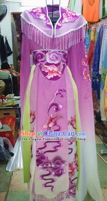 Chinese Traditional Beijing Opera Princess Costume Peking Opera Actress Purple Dress for Adults