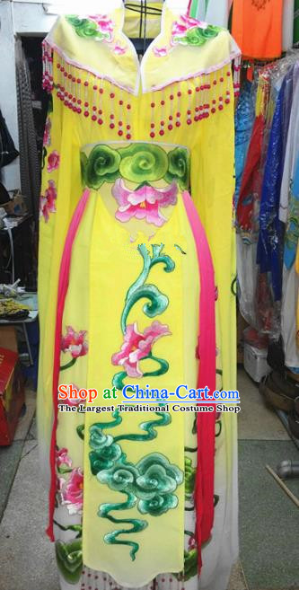 Chinese Traditional Beijing Opera Princess Costume Peking Opera Actress Yellow Dress for Adults