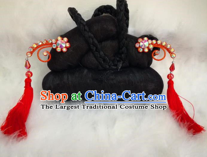 Chinese Traditional Beijing Opera Hair Accessories Peking Opera Red Tassel Hairpins for Adults