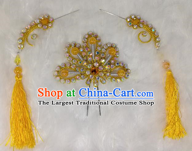 Chinese Traditional Beijing Opera Hair Accessories Peking Opera Yellow Flower Hairpins Tassel Step Shake for Adults