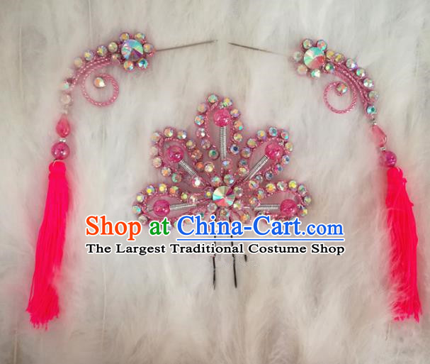 Chinese Traditional Beijing Opera Hair Accessories Peking Opera Rosy Flower Hairpins Tassel Step Shake for Adults