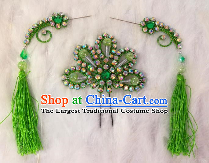 Chinese Traditional Beijing Opera Hair Accessories Peking Opera Green Flower Hairpins Tassel Step Shake for Adults