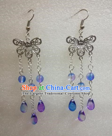Chinese Traditional Beijing Opera Accessories Peking Opera Purple Beads Tassel Butterfly Earrings for Adults