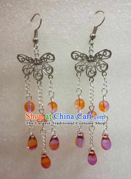 Chinese Traditional Beijing Opera Accessories Peking Opera Orange Beads Tassel Butterfly Earrings for Adults
