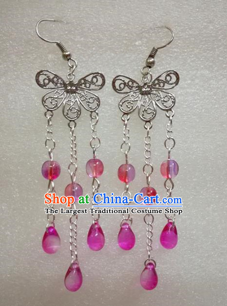 Chinese Traditional Beijing Opera Accessories Peking Opera Rosy Beads Tassel Butterfly Earrings for Adults
