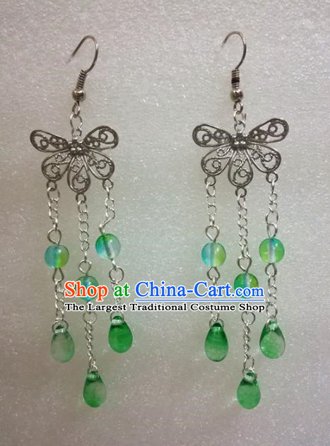 Chinese Traditional Beijing Opera Accessories Peking Opera Green Beads Tassel Butterfly Earrings for Adults