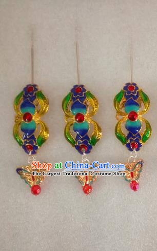 Chinese Traditional Beijing Opera Hair Accessories Peking Opera Blueing Butterfly Hairpins for Adults