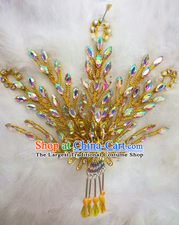 Chinese Traditional Beijing Opera Hair Accessories Peking Opera Princess Golden Phoenix Hairpins for Adults
