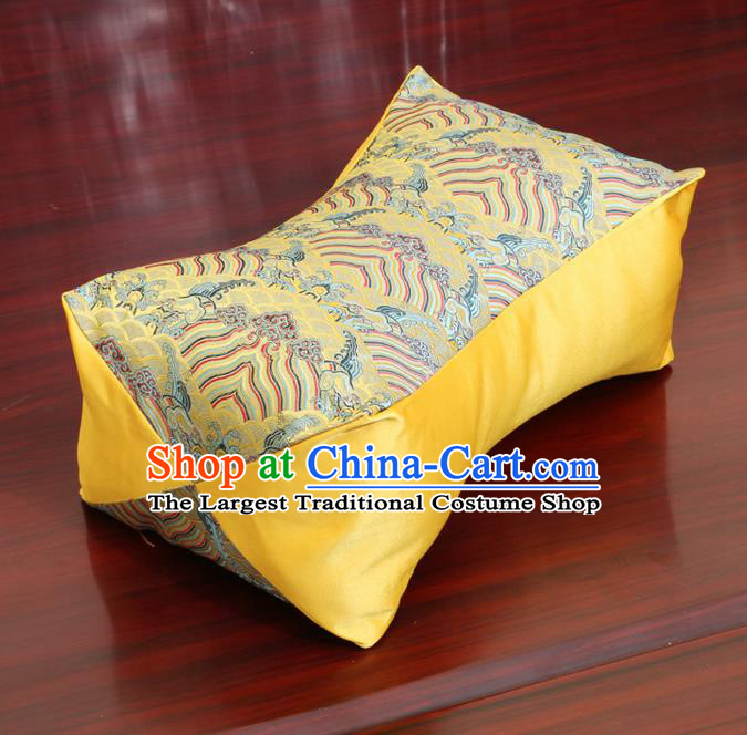 Chinese Traditional Pattern Yellow Brocade Pillow Slip Pillow Cover Classical Household Ornament