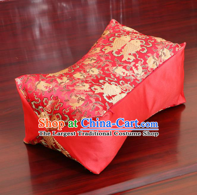 Chinese Traditional Fishes Pattern Red Brocade Pillow Slip Pillow Cover Classical Household Ornament