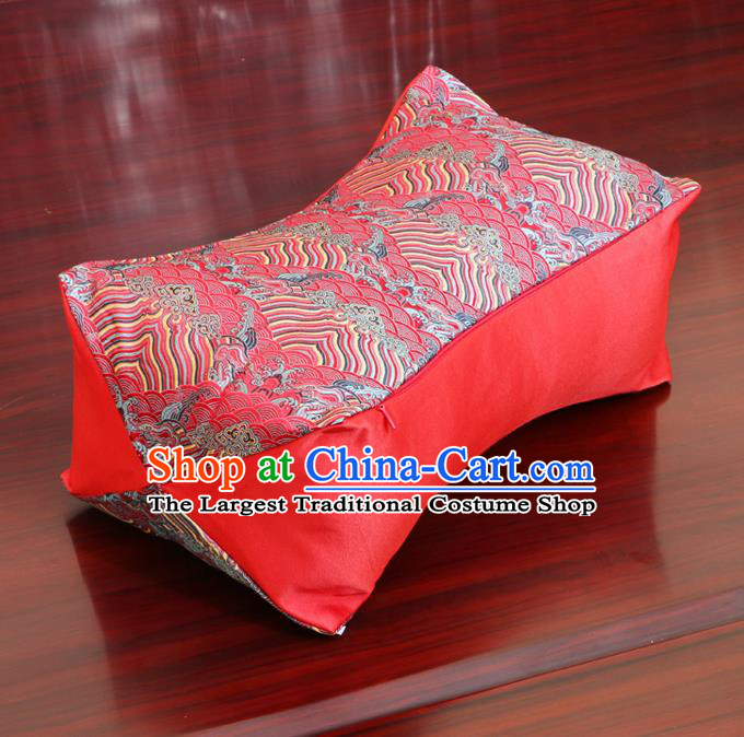 Chinese Traditional Wave Pattern Red Brocade Pillow Slip Pillow Cover Classical Household Ornament