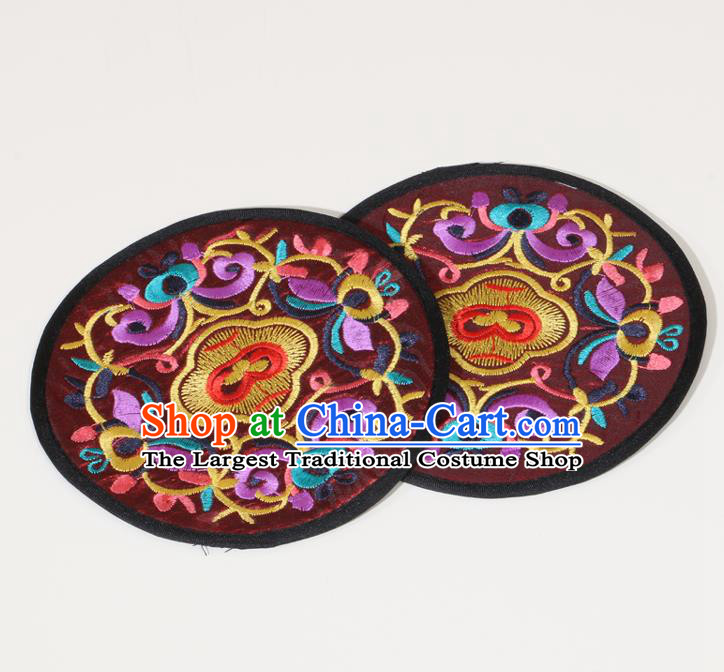 Chinese Traditional Household Accessories Classical Embroidered Purplish Red Brocade Teacup Mat