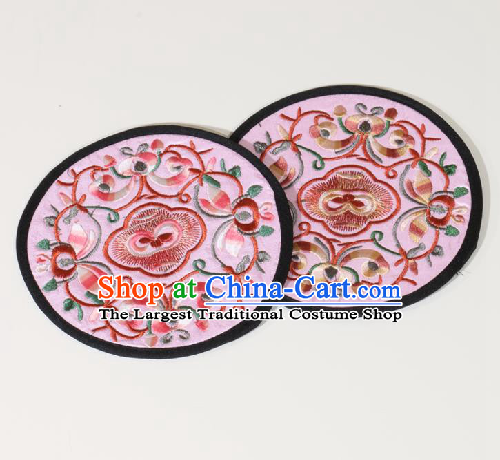 Chinese Traditional Household Accessories Classical Embroidered Pink Brocade Teacup Mat