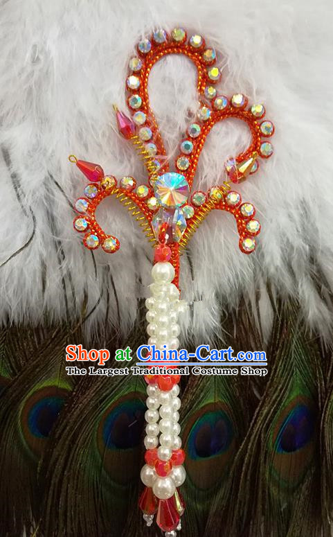 Chinese Traditional Beijing Opera Hair Accessories Peking Opera Beads Tassel Red Phoenix Hairpins for Adults