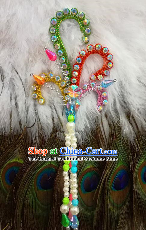 Chinese Traditional Beijing Opera Hair Accessories Peking Opera Beads Tassel Colorful Phoenix Hairpins for Adults