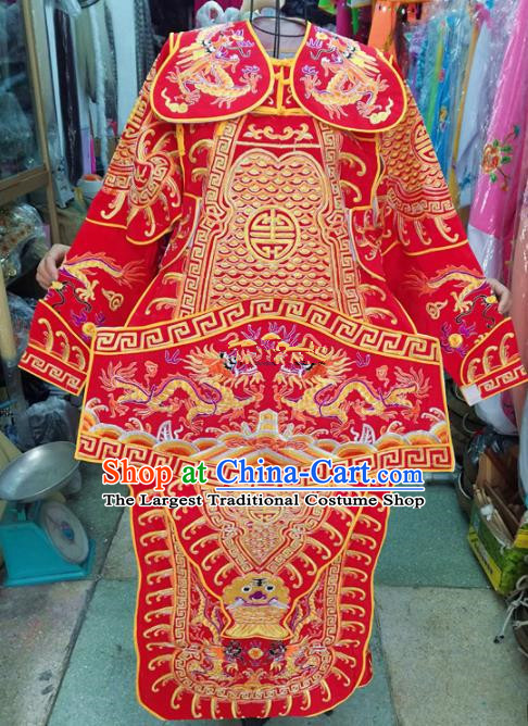 Chinese Traditional Beijing Opera Children Costume Peking Opera General Red Clothing for Kids