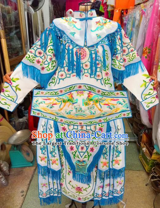 Chinese Traditional Beijing Opera Costume Peking Opera Female General White Clothing for Kids