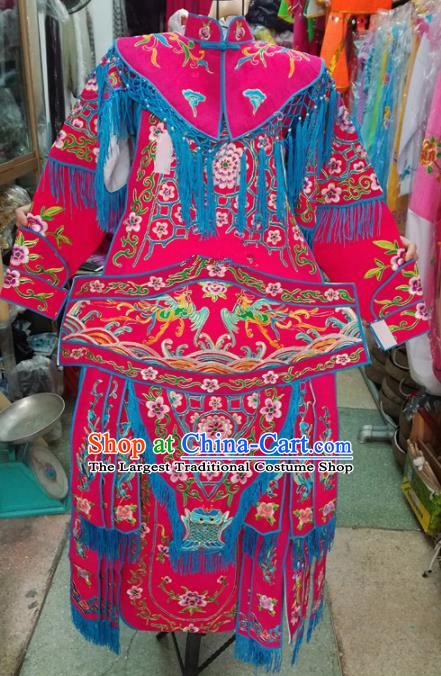 Chinese Traditional Beijing Opera Costume Peking Opera Female General Rosy Clothing for Kids