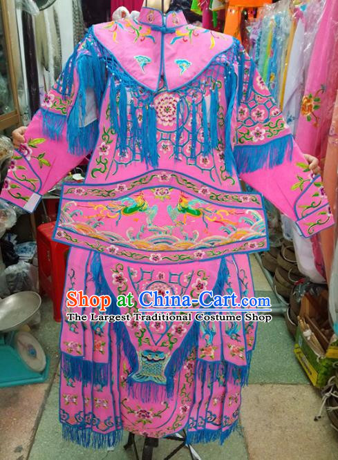 Chinese Traditional Beijing Opera Costume Peking Opera Female General Pink Clothing for Kids
