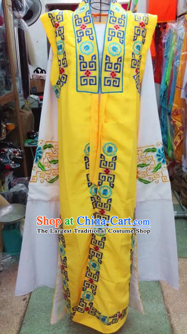 Chinese Traditional Beijing Opera Old Gentleman Costume Peking Opera Embroidered Yellow Clothing for Adults