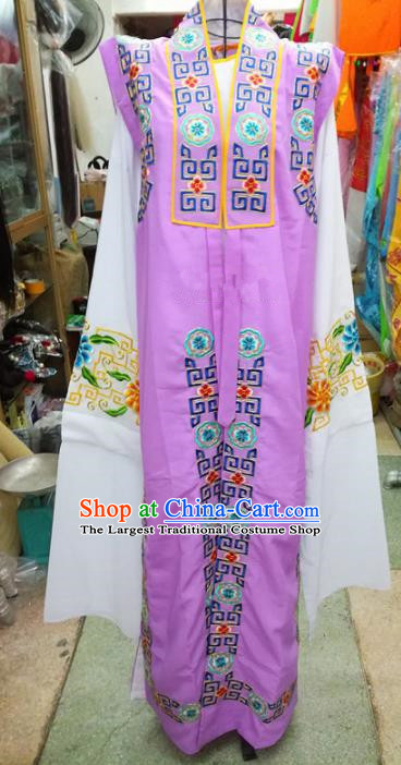 Chinese Traditional Beijing Opera Old Gentleman Costume Peking Opera Embroidered Purple Clothing for Adults