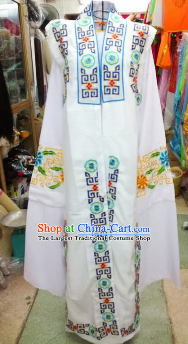 Chinese Traditional Beijing Opera Old Gentleman Costume Peking Opera Embroidered White Clothing for Adults