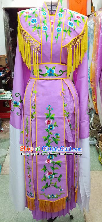 Chinese Traditional Beijing Opera Young Lady Costume Peking Opera Diva Lilac Dress for Adults