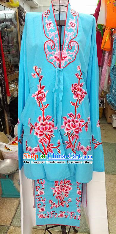 Chinese Traditional Beijing Opera Tsingyi Costume Peking Opera Actress Blue Dress for Adults