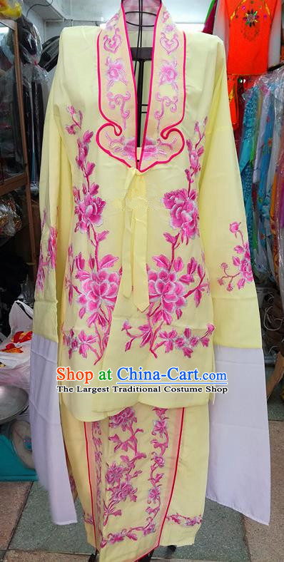 Chinese Traditional Beijing Opera Tsingyi Costume Peking Opera Actress Yellow Dress for Adults