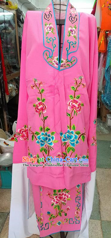 Chinese Traditional Beijing Opera Tsingyi Costume Peking Opera Actress Embroidered Peony Pink Dress for Adults