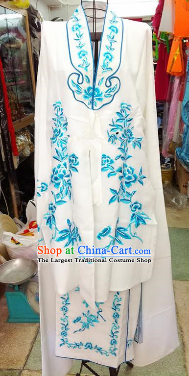 Chinese Traditional Beijing Opera Tsingyi Costume Peking Opera Actress Embroidered Peony White Dress for Adults
