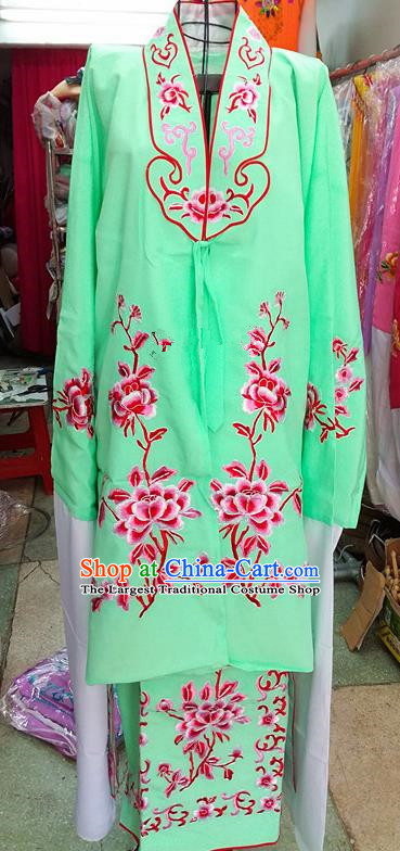 Chinese Traditional Beijing Opera Tsingyi Costume Peking Opera Actress Embroidered Peony Green Dress for Adults