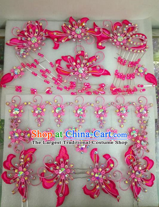Chinese Traditional Beijing Opera Hair Accessories Peking Opera Princess Head Ornaments Pink Hairpins for Adults