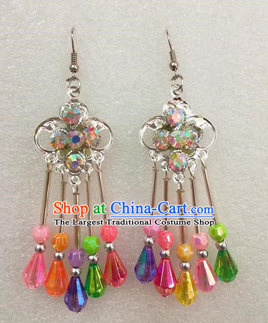 Chinese Traditional Beijing Opera Earrings Peking Opera Actress Colorful Eardrop for Adults