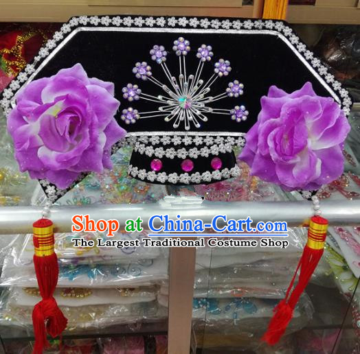 Chinese Traditional Beijing Opera Head Ornaments Qing Dynasty Princess Hat Hair Accessories for Adults