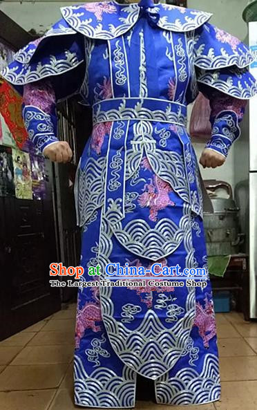 Chinese Traditional Beijing Opera Takefu Costume Peking Opera Martial General Blue Clothing for Adults
