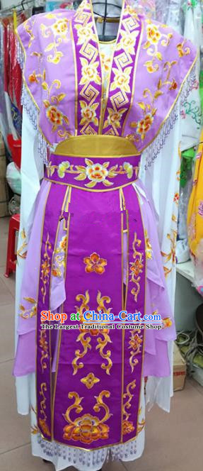 Chinese Traditional Beijing Opera Princess Purple Dress Peking Opera Actress Costume for Adults