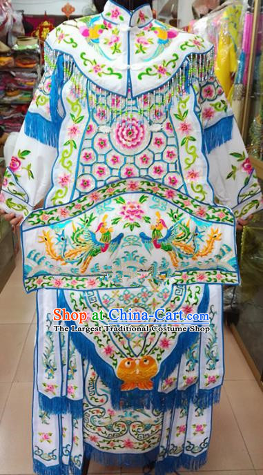 Chinese Traditional Beijing Opera Female General White Clothing Peking Opera Actress Costume for Adults