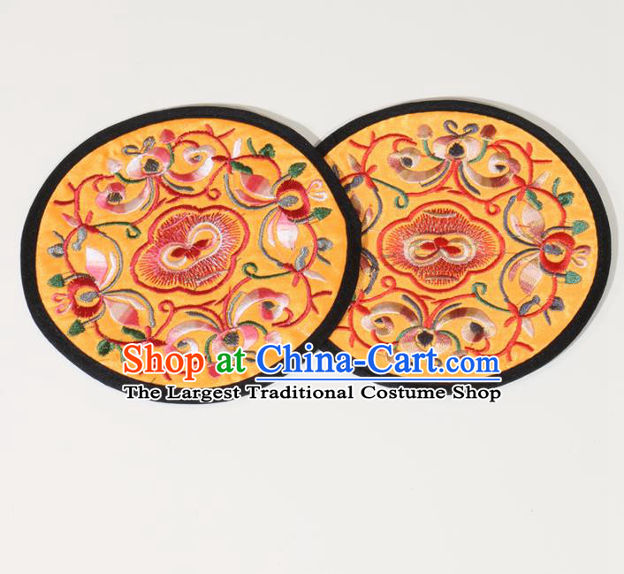 Chinese Traditional Household Accessories Classical Embroidered Yellow Brocade Teacup Mat
