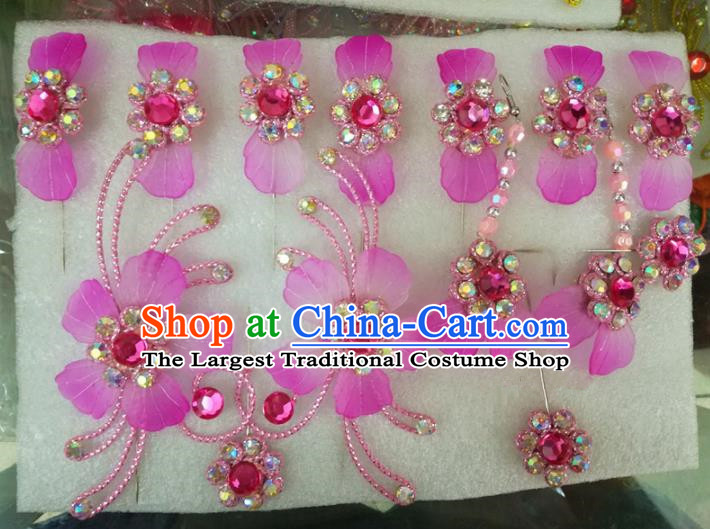 Chinese Traditional Beijing Opera Hair Accessories Peking Opera Princess Purple Flowers Hairpins Complete Set for Adults