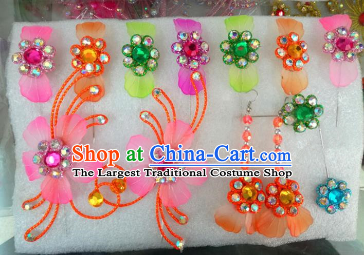 Chinese Traditional Beijing Opera Hair Accessories Peking Opera Princess Colorful Flowers Hairpins Complete Set for Adults