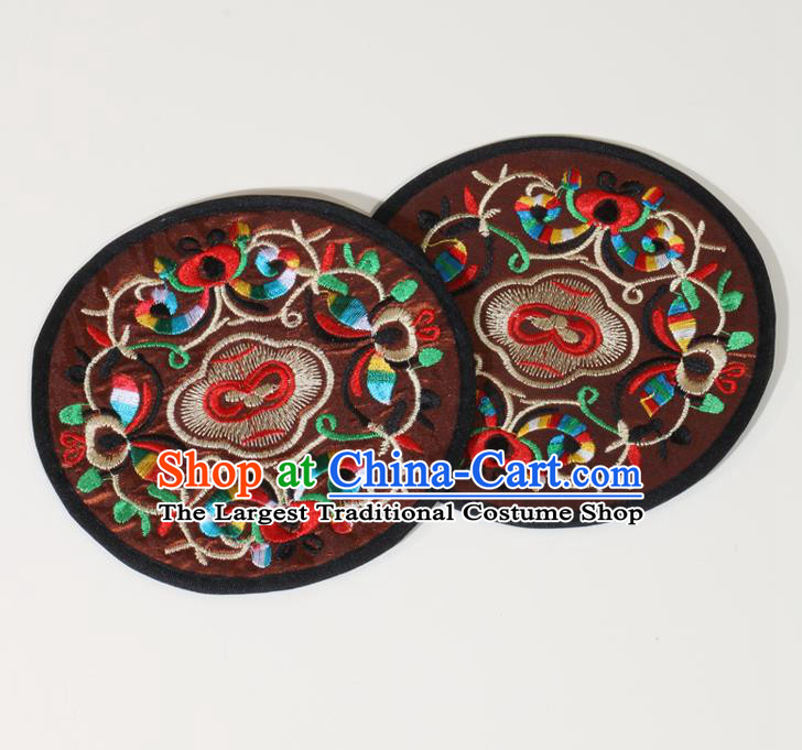 Chinese Traditional Household Accessories Classical Embroidered Brown Brocade Teacup Mat