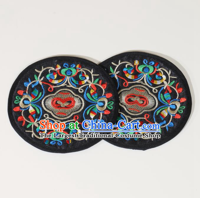 Chinese Traditional Household Accessories Classical Embroidered Black Brocade Teacup Mat