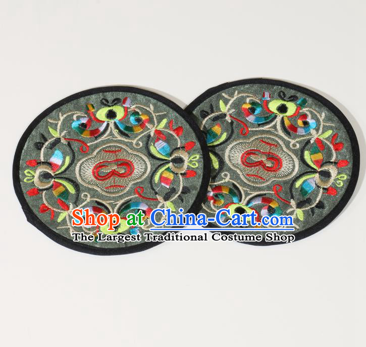 Chinese Traditional Household Accessories Classical Embroidered Olive Green Brocade Teacup Mat